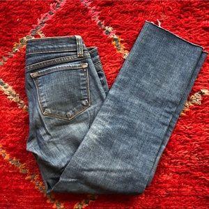 JBrand skinny cropped jeans raw hem 26